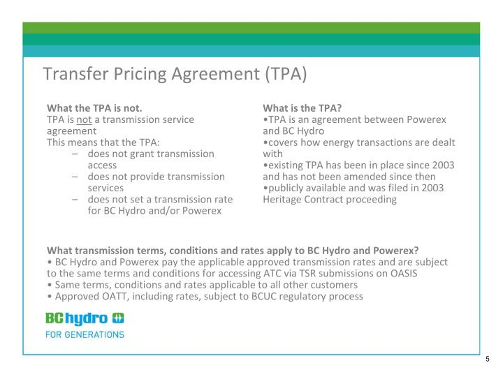 Transfer Pricing Agreement (TPA)
