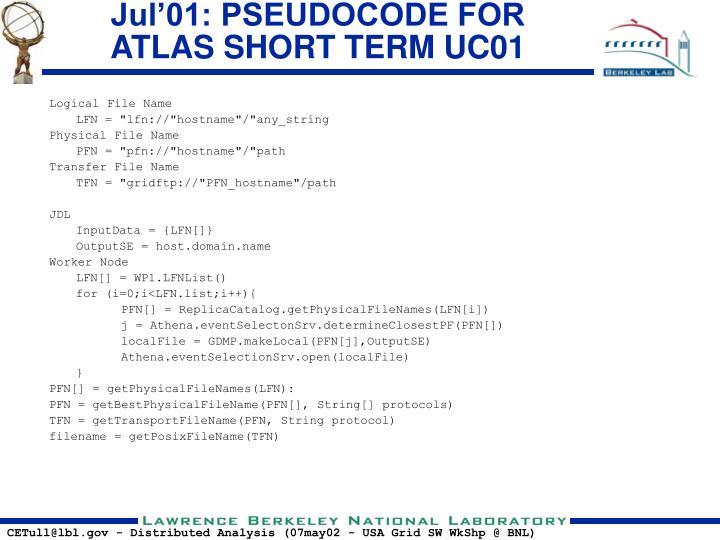 Jul'01: PSEUDOCODE FOR ATLAS SHORT TERM UC01