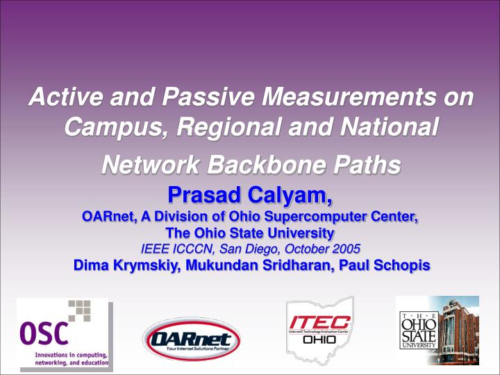 Active and Passive Measurements on Campus, Regional and National