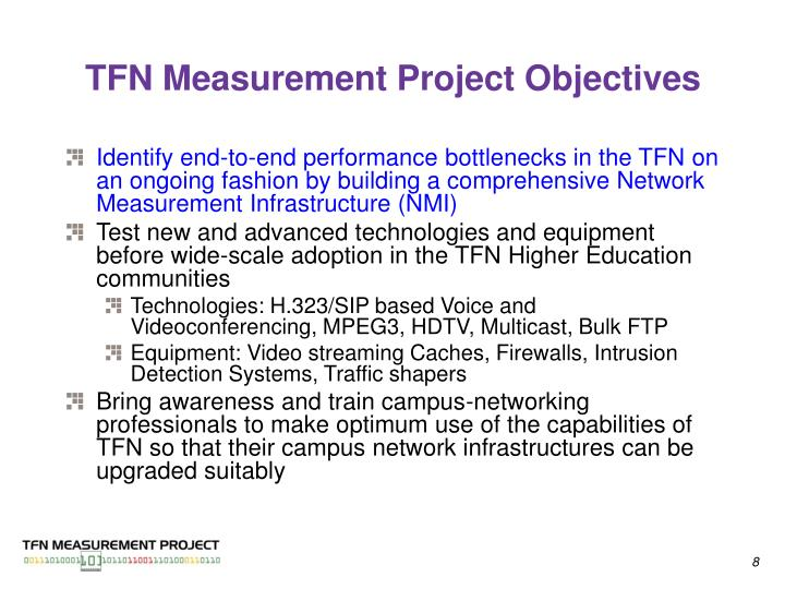 TFN Measurement Project Objectives