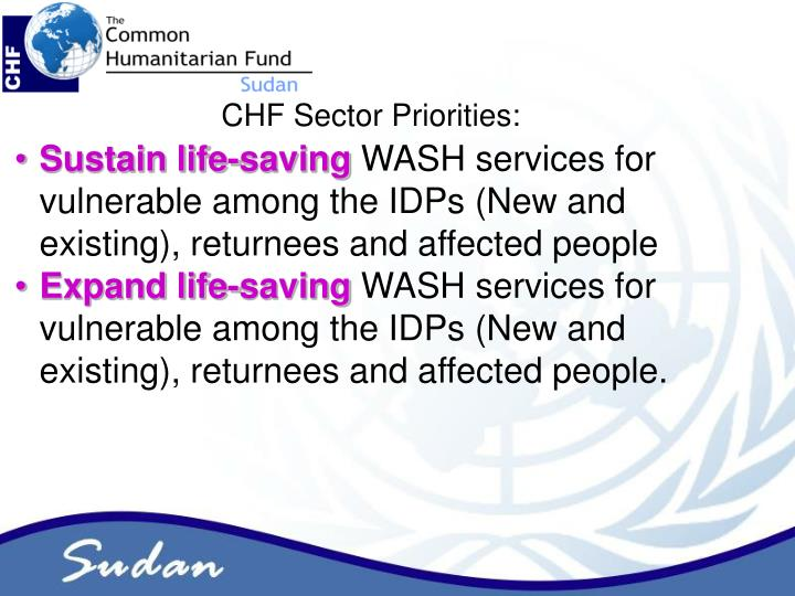 CHF Sector Priorities: