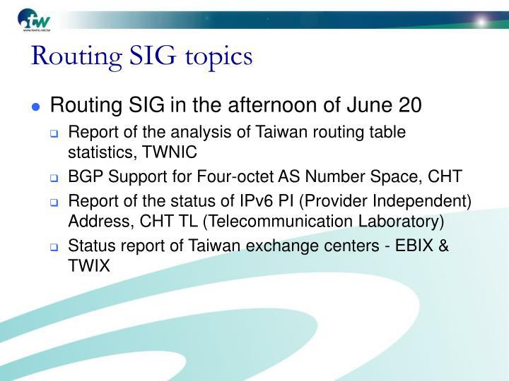 Routing SIG topics