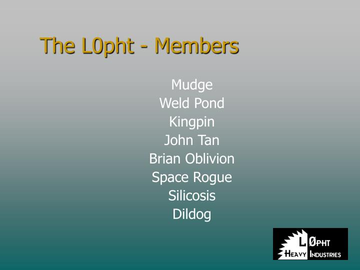 The L0pht - Members