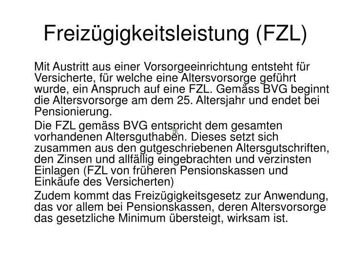 Freizügigkeitsleistung (FZL)