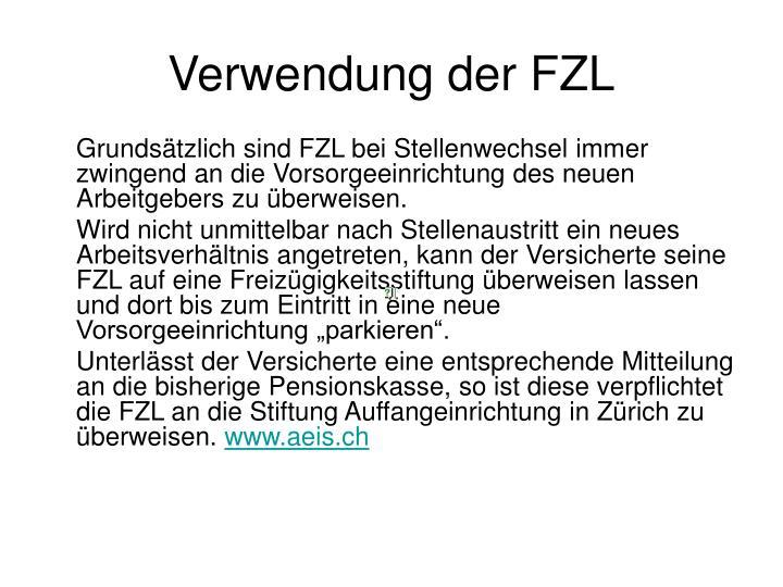 Verwendung der FZL