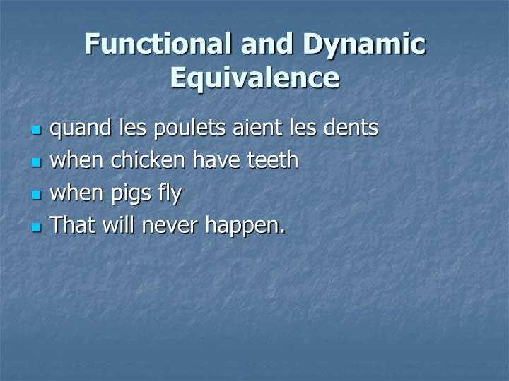 Functional and Dynamic Equivalence