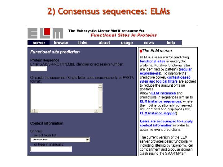 2) Consensus sequences: ELMs