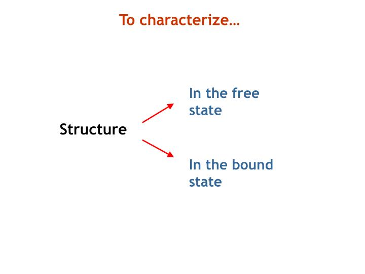 To characterize…