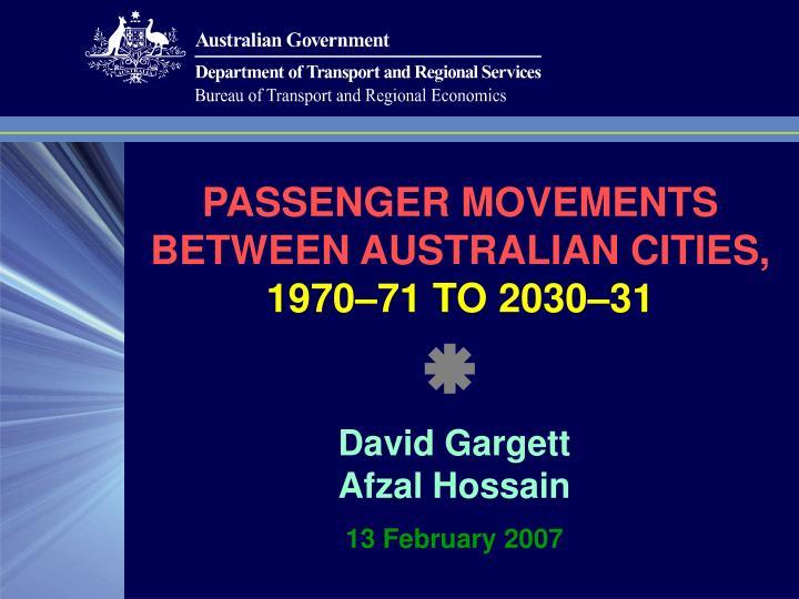 passenger movements between australian cities 1970 71 to 2030 31 n.