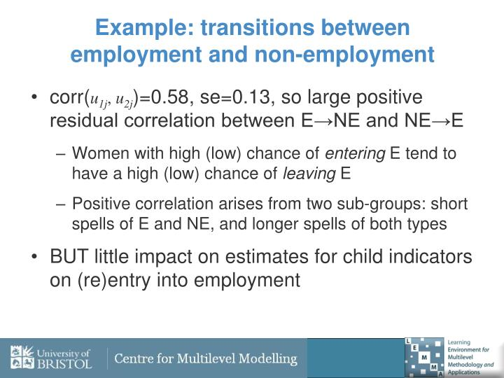 Example: transitions between employment and non-employment