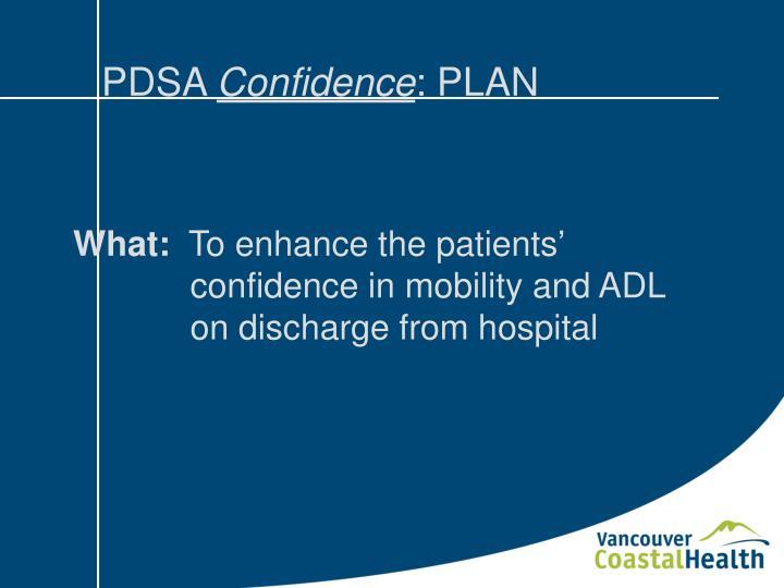 Pdsa confidence plan