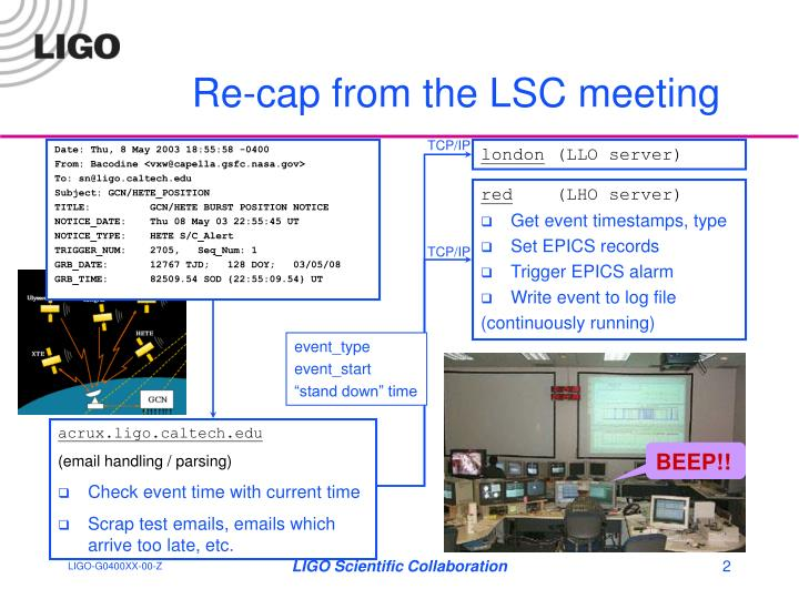 Re cap from the lsc meeting