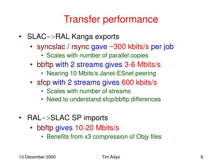 Transfer performance