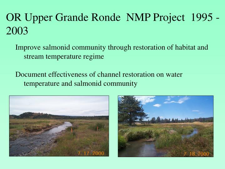 OR Upper Grande Ronde  NMP Project  1995 - 2003