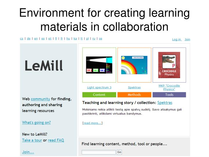 Environment for creating learning materials in collaboration
