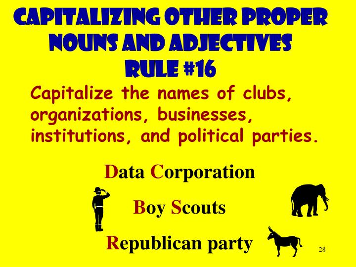 Capitalizing other proper nouns and adjectives