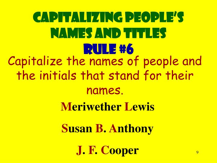 Capitalizing people's names and titles