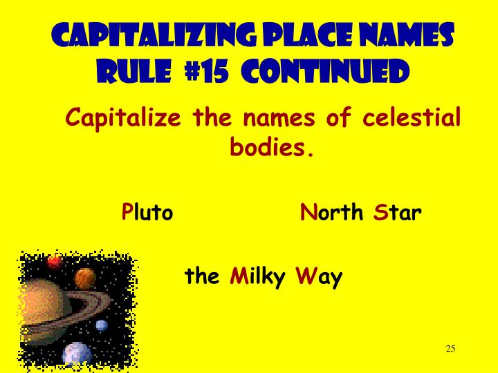 Capitalizing place names