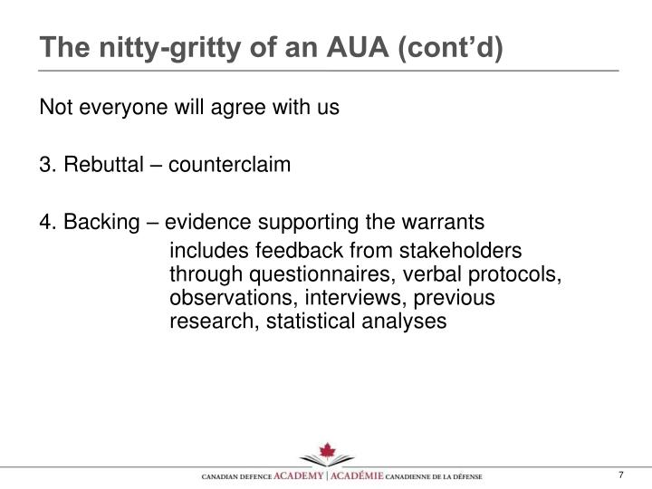 The nitty-gritty of an AUA (cont'd)