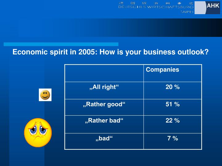 Economic spirit in 2005: How is your business outlook?