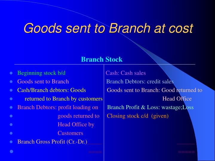 Goods sent to Branch at cost