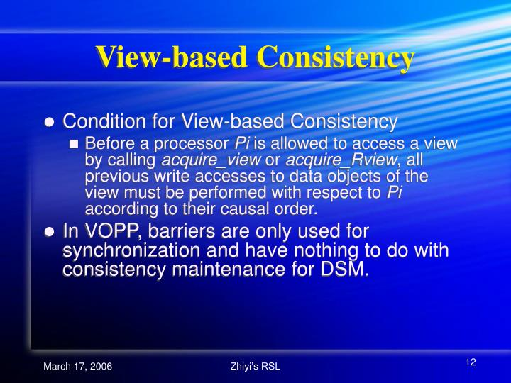 View-based Consistency