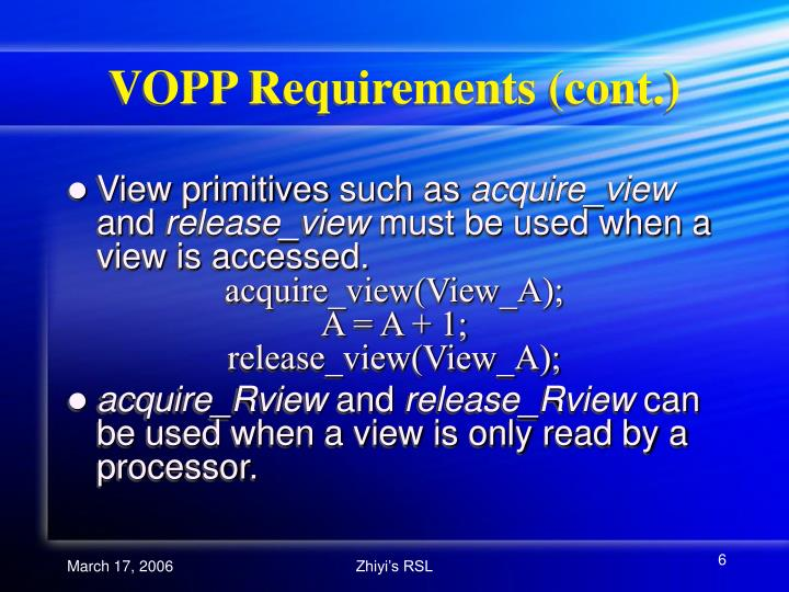 VOPP Requirements (cont.)
