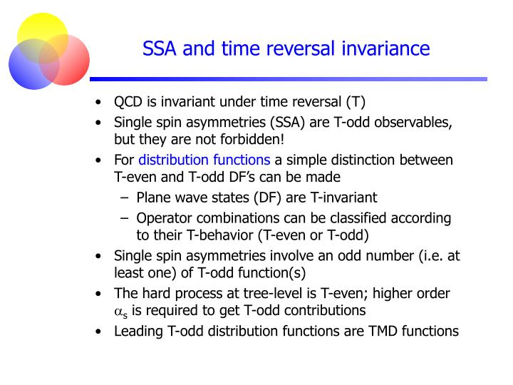 SSA and time reversal invariance