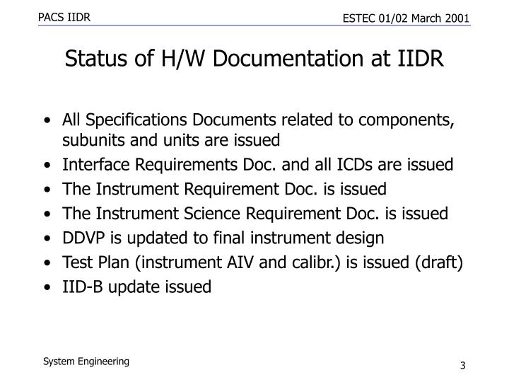 Status of h w documentation at iidr