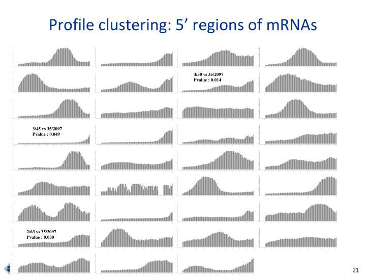 Profile clustering: 5' regions of mRNAs