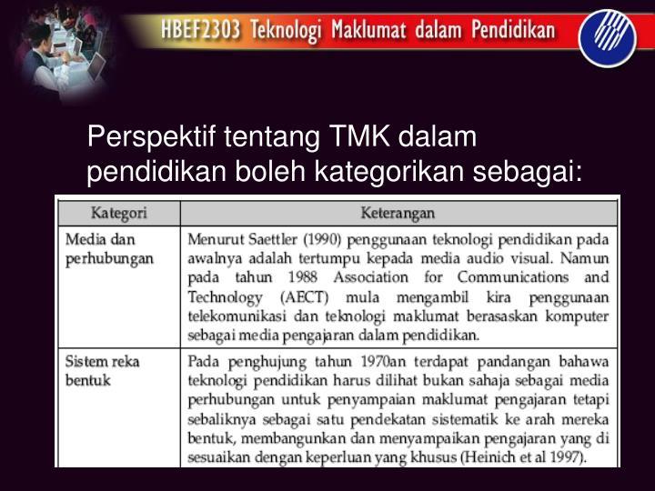 Perspektif tentang TMK dalam pendidikan boleh kategorikan sebagai: