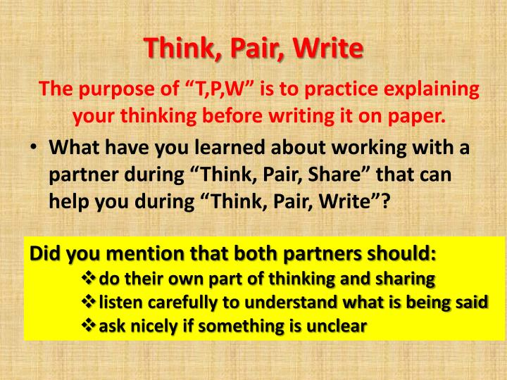 Think, Pair, Write