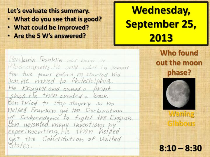 Wednesday september 25 2013