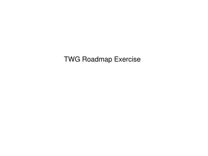 TWG Roadmap Exercise