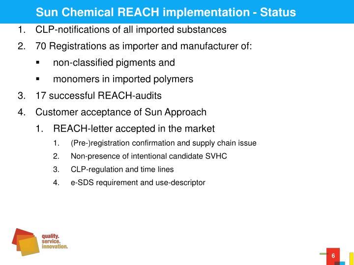 Sun Chemical REACH implementation - Status