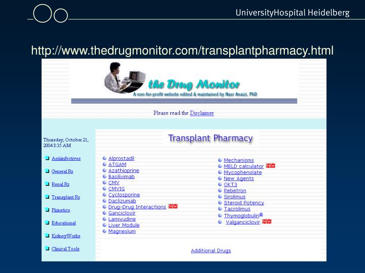 http://www.thedrugmonitor.com/transplantpharmacy.html