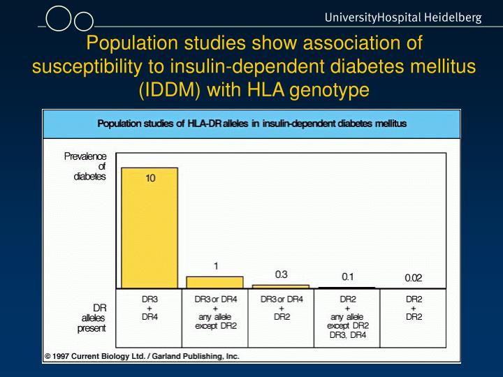 Population studies show association of susceptibility to insulin-dependent diabetes mellitus (IDDM) with HLA genotype