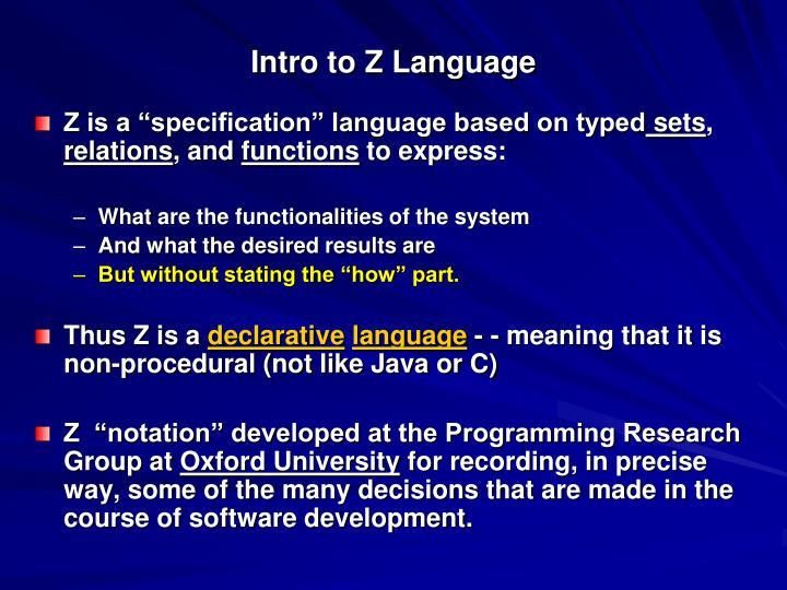 intro to z language n.