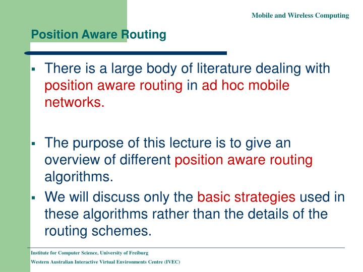 Position Aware Routing
