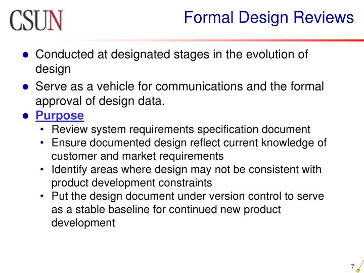 Formal Design Reviews