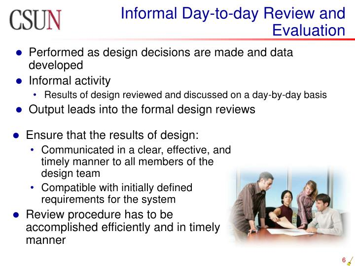Informal Day-to-day Review and Evaluation