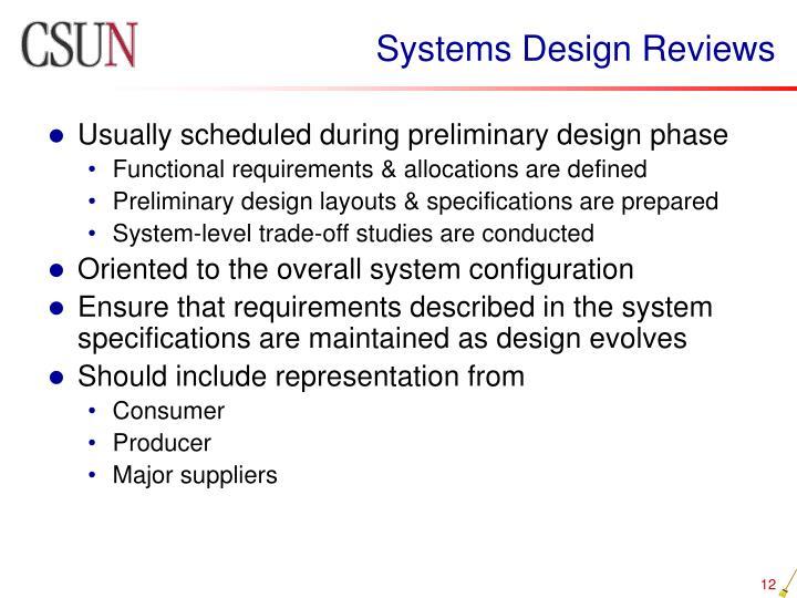 Systems Design Reviews