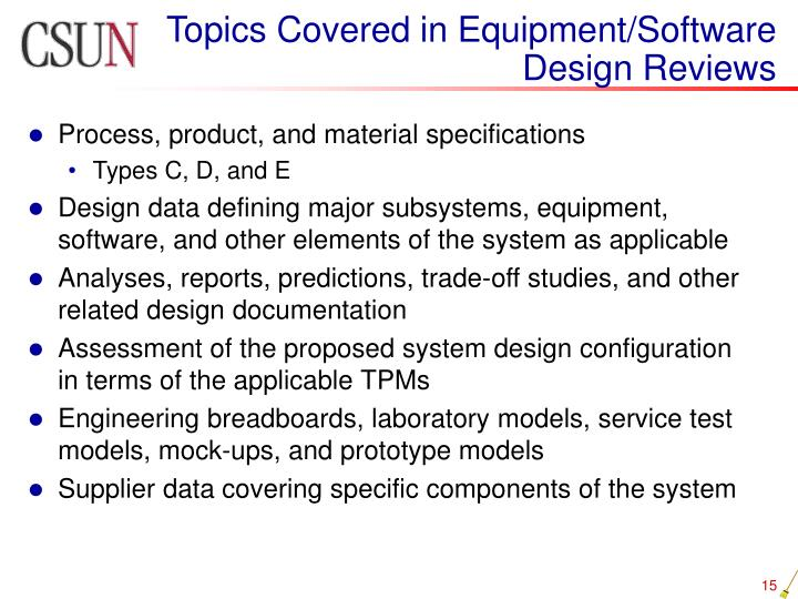 Topics Covered in Equipment/Software