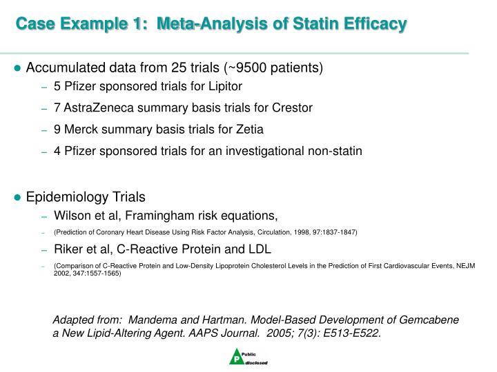 Case Example 1:  Meta-Analysis of Statin Efficacy