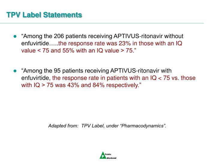 TPV Label Statements