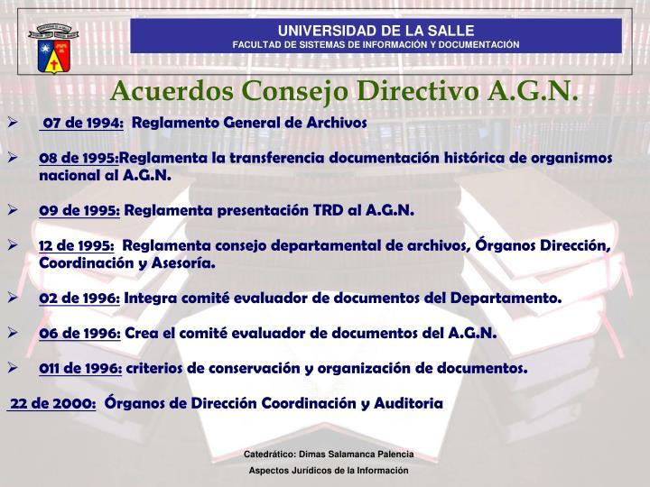 Acuerdos Consejo Directivo A.G.N.