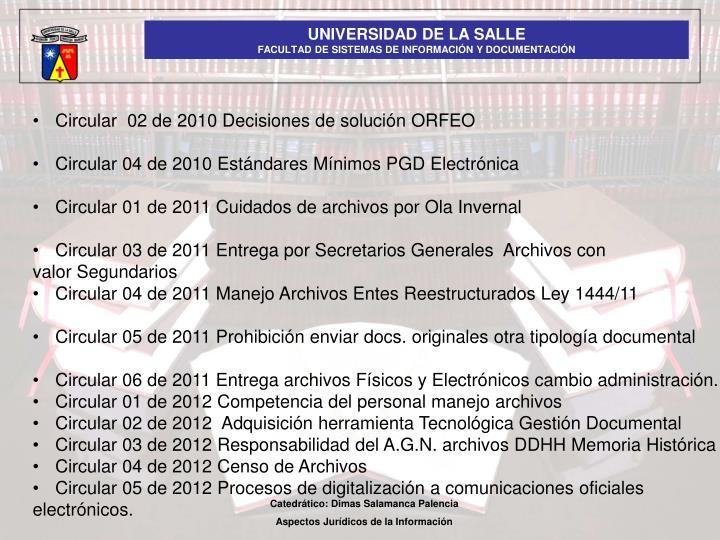 Circular  02 de 2010 Decisiones de solución ORFEO
