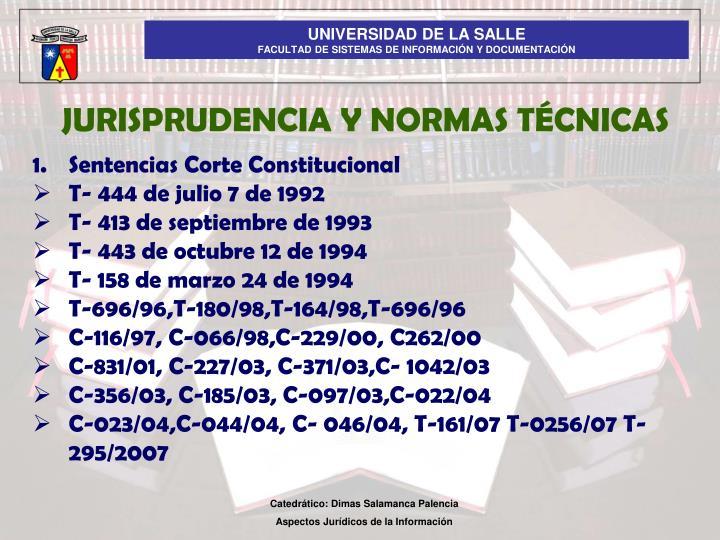 JURISPRUDENCIA Y NORMAS TÉCNICAS