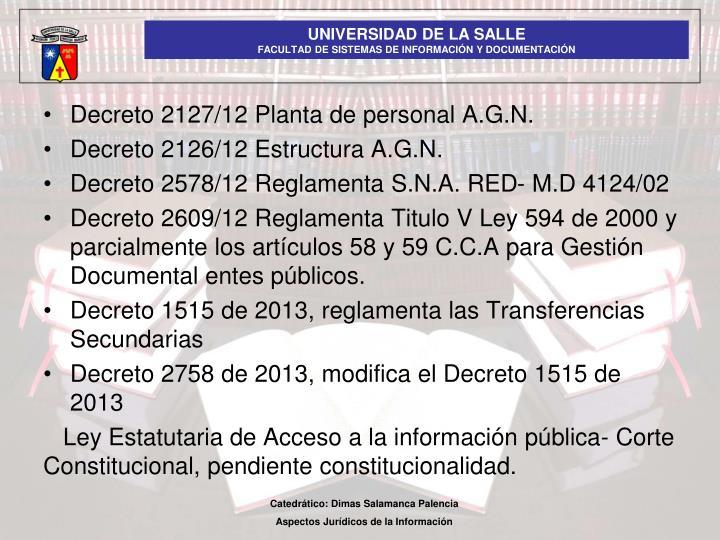Decreto 2127/12 Planta de personal A.G.N.