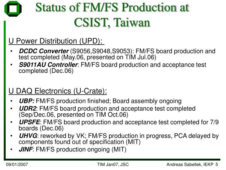 Status of FM/FS Production at CSIST, Taiwan